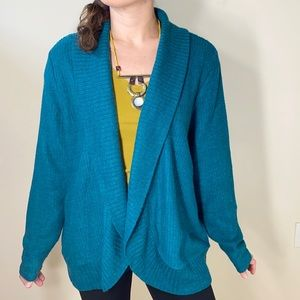 Forever 21+ | teal wool blend open cardigan